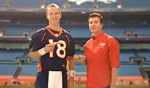 Peyton Manning contemplates bashing Papa John's head in with an ice pick.